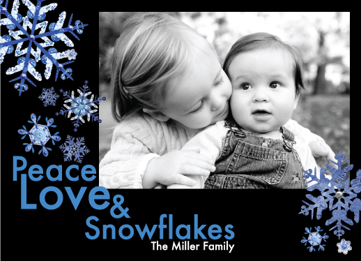 holiday photo cards - Peace, Love & Snowflakes