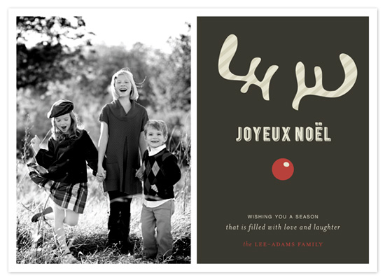 holiday photo cards - JOYEUX NOËL + reindeer by Emily Ranneby
