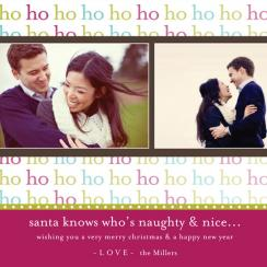 Funky HO HO HO Holiday Photo Cards