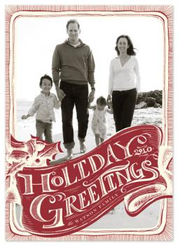 vintage greeting Holiday Photo Cards