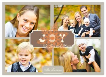 Vintage Joy Snowflake Holiday Photo Cards