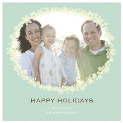 Snowflake Wreath on TIffany Blue Holiday Photo Cards