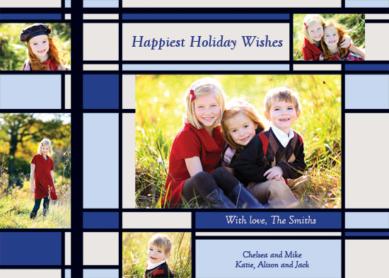 holiday photo cards - Happiest Holiday Wishes - Blue by Michelle Maki