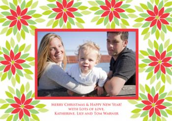 Modern Poinsettia Holiday Photo Cards