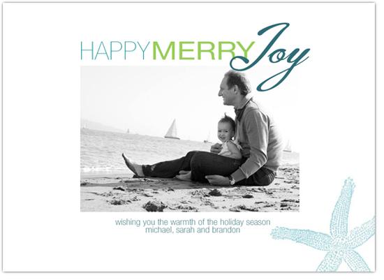 holiday photo cards - Happy Merry Joy Beach Colors by MaccLin Creative