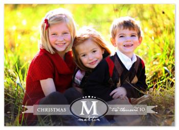 Monogram Bano-dots Holiday Photo Cards