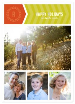 Chevron Wreath Holiday Photo Cards