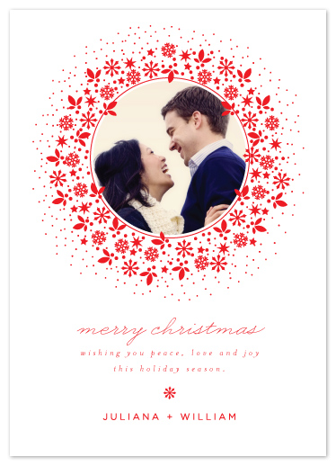 holiday photo cards - Red Wreath by Coco and Ellie Design