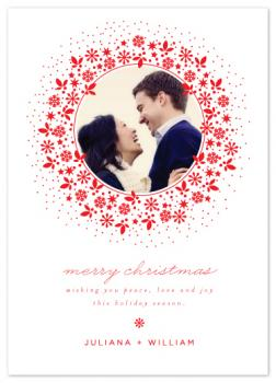 Red Wreath Holiday Photo Cards