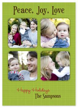Green Linen Holiday Photo Cards