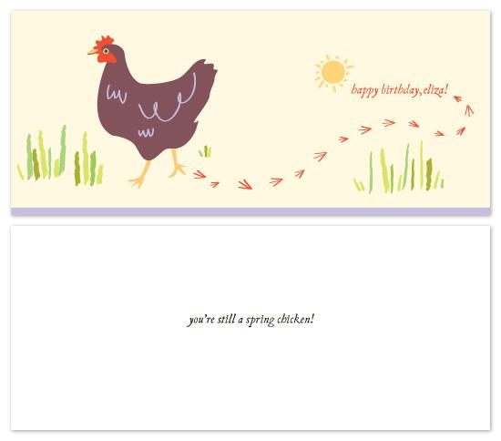 birthday cards - spring chicken! by Lauren Fasnacht