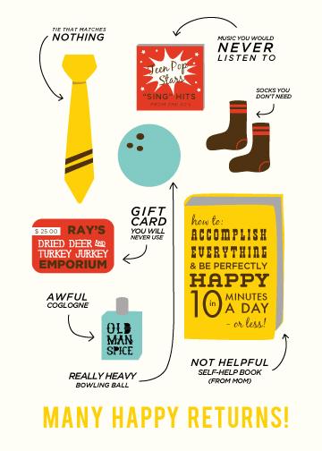 birthday cards - Many Happy Returns by leslie hamer