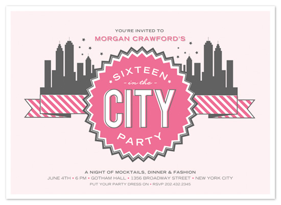 party invitations - 16 in the city by The Social Type