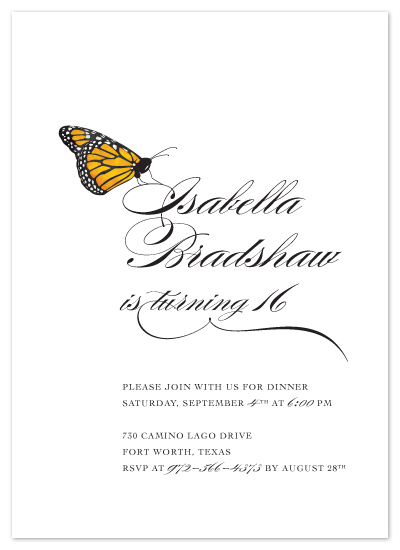 party invitations - Fly, Butterfly by Ann Gardner