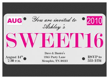 Sweet 16 License Plate Party Invitations