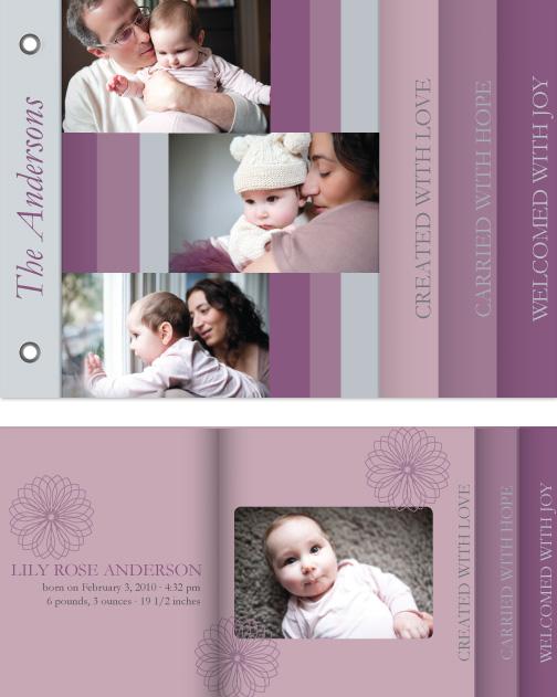 minibook cards - Love, Hope, Joy Birth Announcement Minibook Card by William Reid Stationery