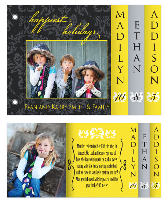 minibook cards - Black & Yellow Family Christmas by Sadie Visser Designs