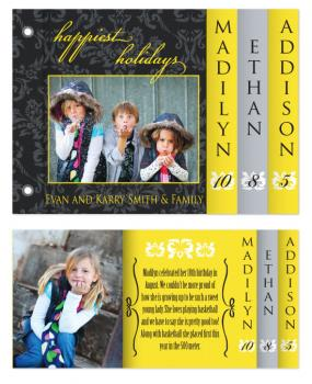Black & Yellow Family Christmas Minibook Cards