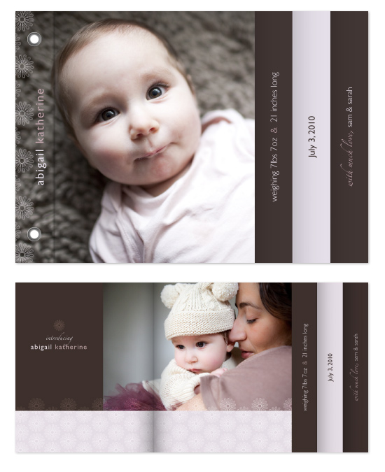 minibook cards - Introducing Our Little Girl by Rebecca Wendt