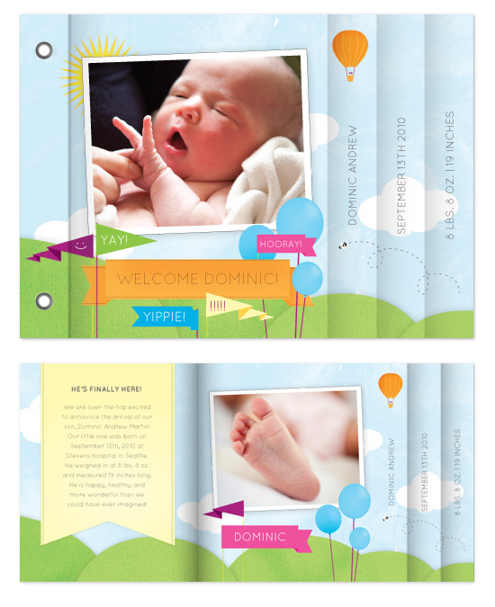 minibook cards - Welcome Baby by Tanya Williams