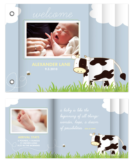 minibook cards - Baby Moo by Noah and Olivia