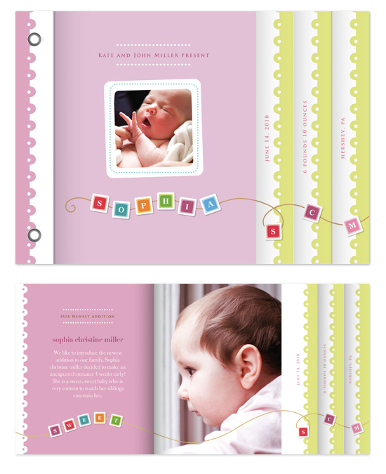 minibook cards - baby blocks by Jennifer Wick