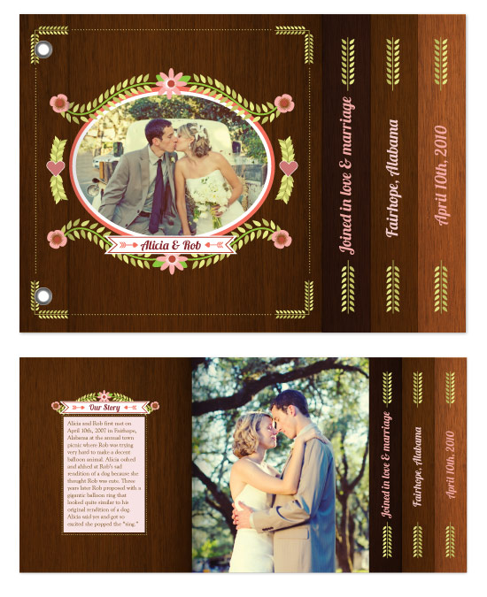 minibook cards - Folksy Vintage Wedding Announcement by Rachel Wiles/Benign Objects