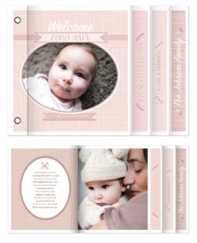 Welcome Baby! Pink Announcement Minibook Cards
