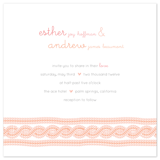 wedding invitations - Two Hearts Knit Together