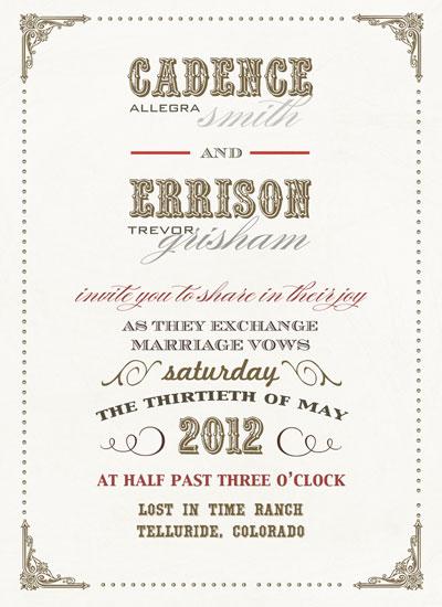 Vintage Invitations Wedding on Wedding Invitations   Old West Vintage Wedding By Zori Levine