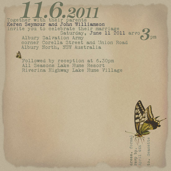 wedding invitations - typewriter letters and butterflies by bernee lee