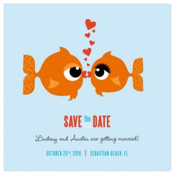 Kissing Fish Save the Date Cards