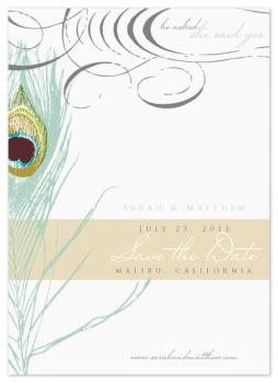 Peacock Splendor Save the Date Cards