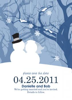 Winter Snowman Couple Save the Date Cards