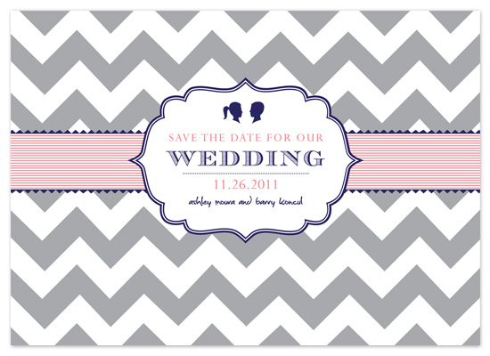 save the date cards - chevron stripes silhouette by Ashley Moura