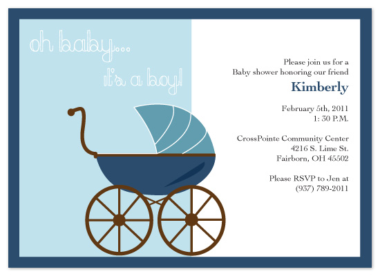 shower invitations - Oh baby it's a boy! by Laura Elizabeth Designs