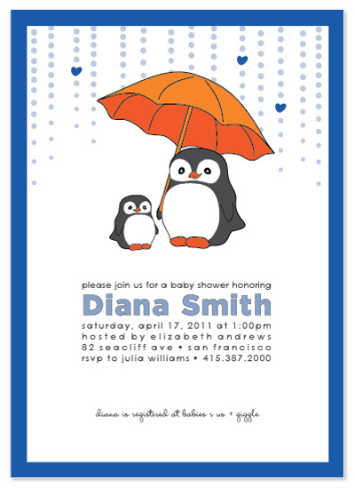 shower invitations baby penguin by chloe and buddy