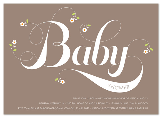 shower invitations - Organic Baby by Gakemi Art+Design