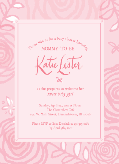 shower invitations - Nonpareil Pink Posies by Lauren Fasnacht