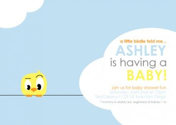 A Little Birdie Shower Invitations