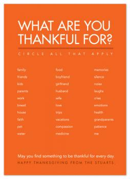 What are you thankful for? Cards
