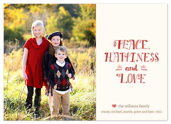 holiday photo cards - peace, happiness and love by Waui Design