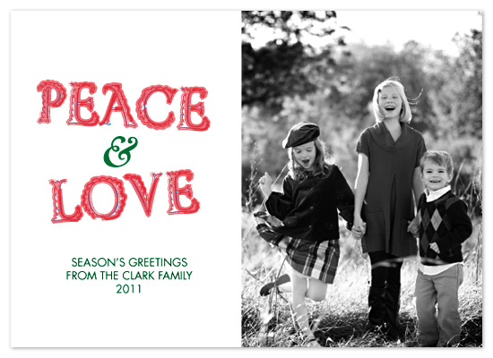 holiday photo cards - Sending You Peace and Love by C.O. Boutique
