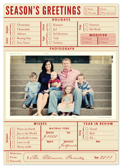 holiday photo cards - Season's Greetings Checklist