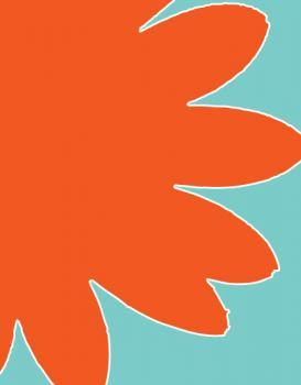 Illustrated Daisy - Orange/Blue Personal Stationery