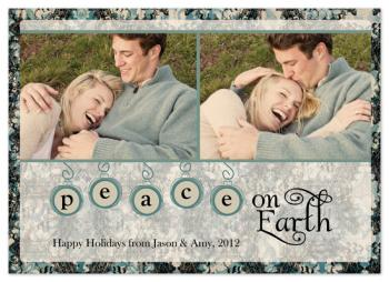 Ornate Blue Lace  Holiday Photo Cards
