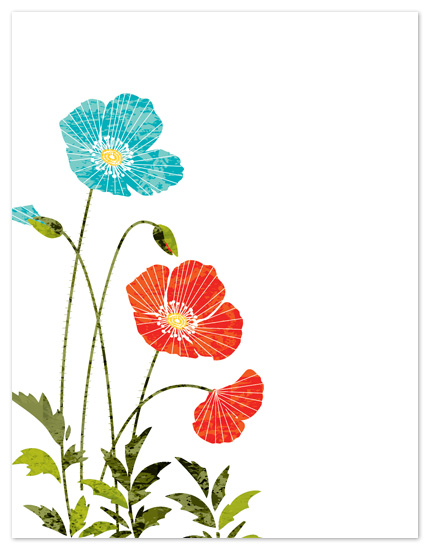 personal stationery - Texture Poppies by Gakemi Design Co