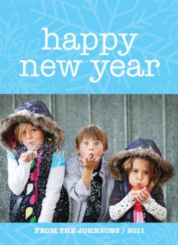 Blue Snow Holiday Photo Cards