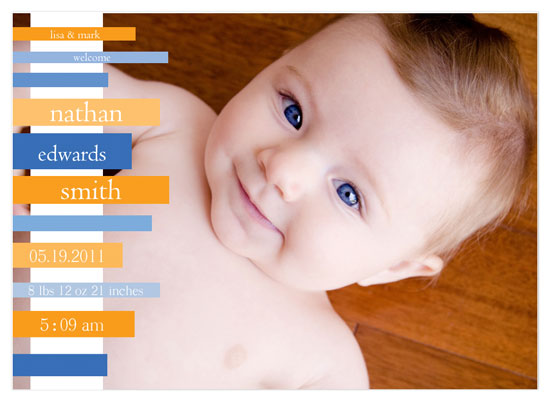 birth announcements - Blue and Orange Stripes by Tenille Jordan