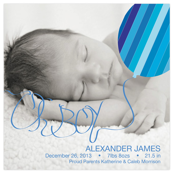 birth announcements - Oh Boy Balloon by that girl Shelley